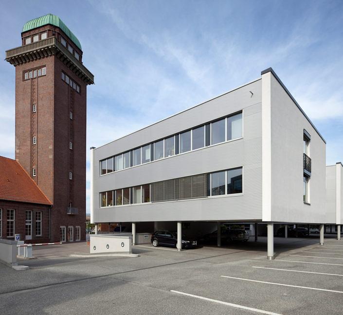Architekturfotografie BTC AG und Turm der Alten Fleiwa Architecture, Architektur, Aussen, Building,IT-Quartier